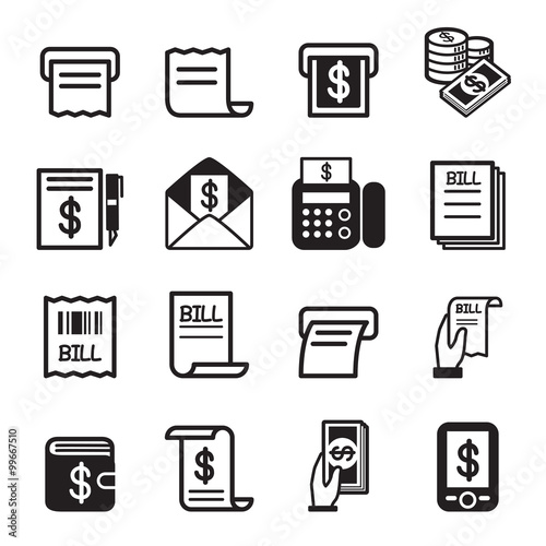 Bill , money , income icons set Canvas-taulu