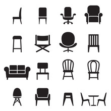 Chair & Seating Icons Set Vect...