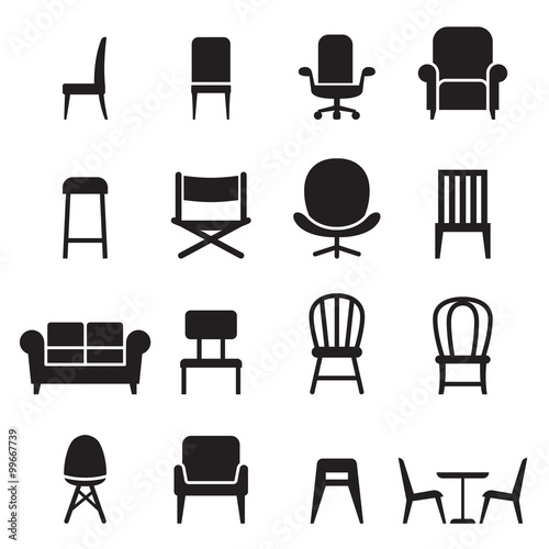 Fotografie, Obraz  Chair & Seating icons set Vector illustration