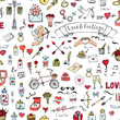 Seamless background Hand drawn doodle Love and Feelings collection Vector illustration Sketchy Love icons Big set of icons for Valentine's day Mothers day wedding, love and romantic events Heart Cupid