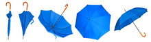 Set Blue Umbrella Stick On A White Background