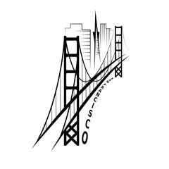 Fototapeta Architektura skyline of San Francisco vector design template