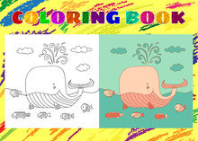 Coloring Book For Kids. Sketchy Little Pink Whale With A Fish Sw