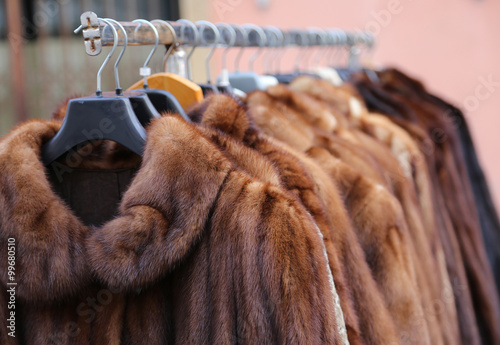 Leinwand Poster fur coat very sofly in vintage style