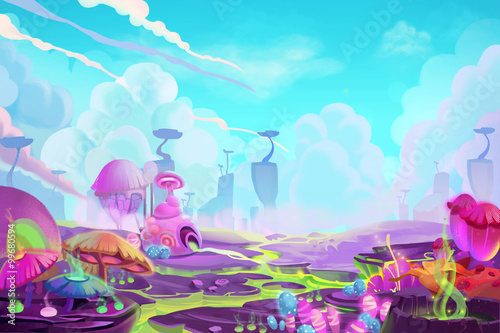 Tuinposter Turkoois Illustration: A Mystery Wonderland. Realistic Fantastic Cartoon Style Artwork Scene, Wallpaper, Game Story Background, Card Design