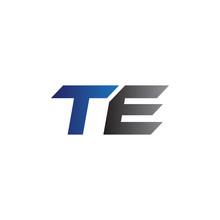 Simple Modern Letters Initial Logo Te