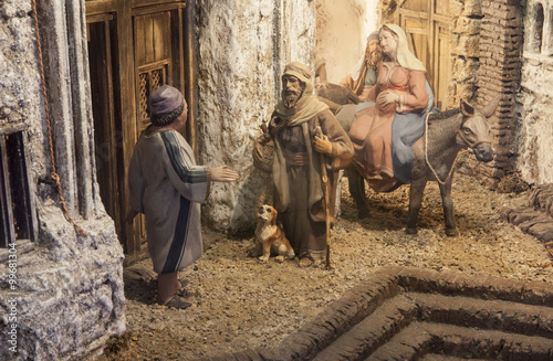 Christmas Nativity scene. Mary and Joseph's search for a place t Wallpaper Mural