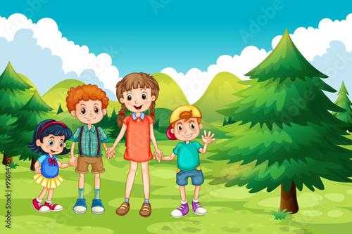 In de dag Regenboog Boys and girls standing in the park