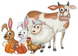 Farm animals with happy face