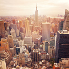 New York City Skyline With Retro Filter Effect, USA.