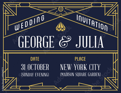 Gatsby style invitation in art deco or nouveau epoch 1920s gangster gatsby style invitation in art deco or nouveau epoch 1920s gangster era vector stopboris Image collections
