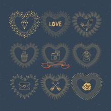 Valentine's Day Hand Drawing Sunburst Heart Shapes For Design. I