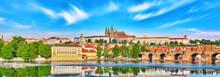 View Of Prague Castle And Charles Bridge-famous Historic Bridge