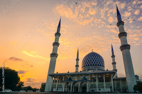 Dramatic Sunset With Vibrant Color Over Mosque (Sultan Salahuddi