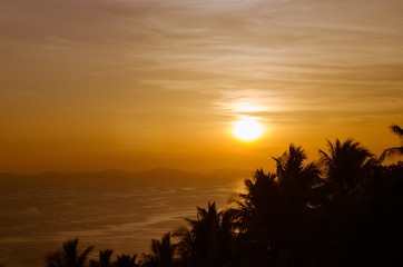 Sunset at Phi Phi Island, Krabi Province of Thailand.