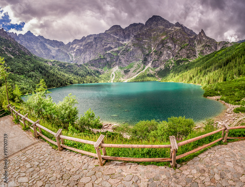 Fototapety, obrazy: Crystal clear pond in the middle of the mountains