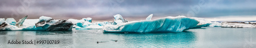 Poster Glaciers Panorama of the ice bay in Iceland