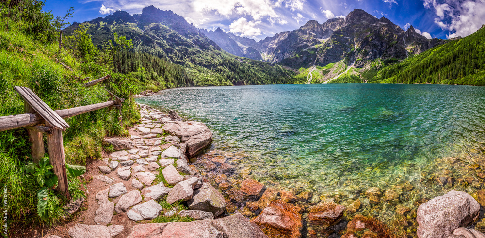 Fototapety, obrazy: Panorama of pond in the middle of the Tatra mountains