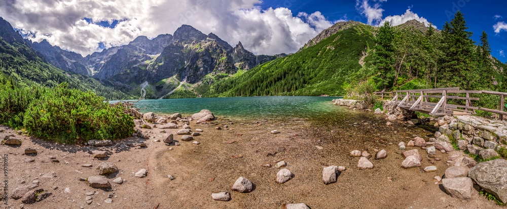 Fototapety, obrazy: Panorama of beautiful lake in the Tatra Mountains