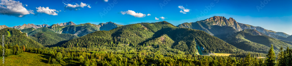 Fototapety, obrazy: Panorama of sunset in Tatra mountains in Zakopane, Poland