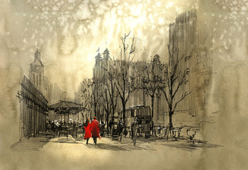 Fototapeta couple in red walking on street of city,freehand sketch