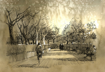 Fototapeta freehand sketch of city park walkway