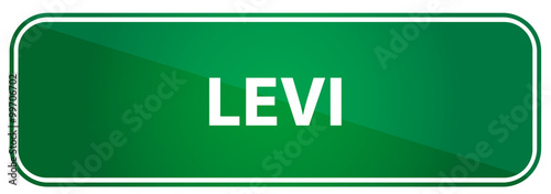 Photographie  Popular boy name Levi on a green US traffic sign