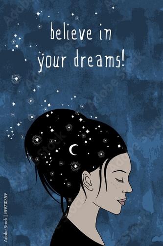 quot-uwierz-w-swoje-marzenia-quot-recznie-rysowane-portret-kobiety-o-ciemn