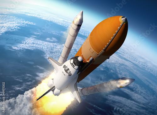 Fototapeta Space Shuttle Solid Rocket Boosters Separation obraz na płótnie