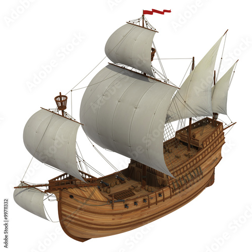 Canvas Prints Ship Caravel Over White Background