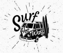 Van Surf Retro Black And White...