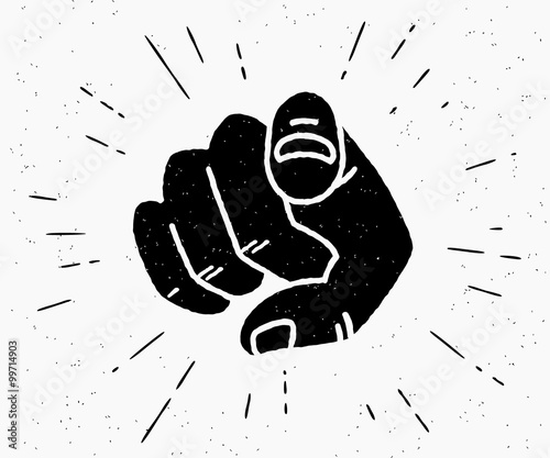Retro black hand pointing finger Fototapet
