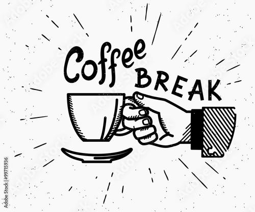 Fotografía  Retro coffee break crafted illustration