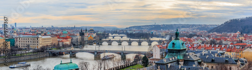 Deurstickers Oost Europa Panorama of Prague bridges