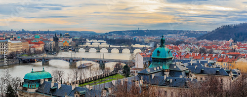 Ingelijste posters Oost Europa Panorama of Prague bridges