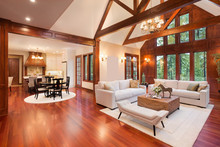 Beautiful Living Room Interior In New Luxury Home With View Of Kitchen