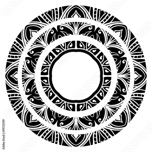 In de dag Boho Stijl Vector round ornament.