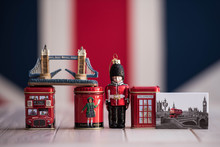 Various British Souvenirs Are On The Table