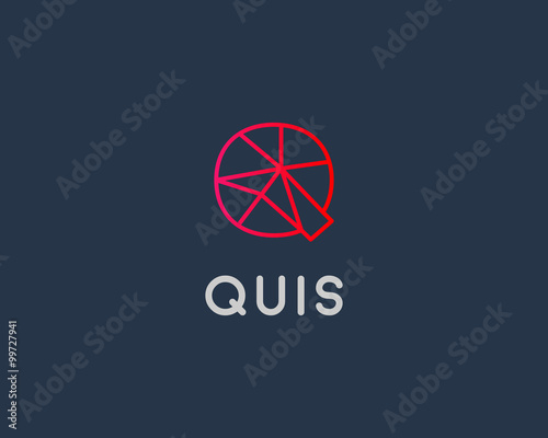 abstract trend letter q logo design template colorful structure creative line t shirt sign