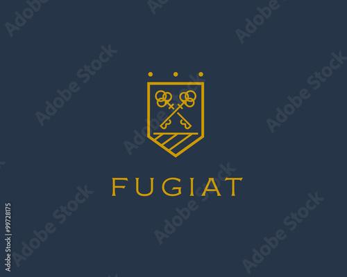 Obraz na plátne Real estate logotype. Keys shield logo icon design.