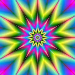 FototapetaStars are Stars / A star patterned fractal image with repeating colors of pink, blue, yellow and green.