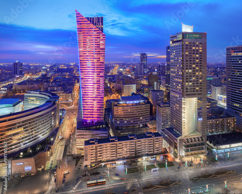 Fototapety, obrazy: Panorama of modern Warsaw by night