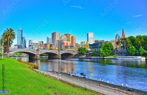 View of Melbourne skyline in summer Canvas Print