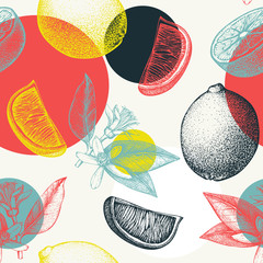 Vector seamless pattern with ink hand drawn lime fruit, flowers, slice and leaves sketch. Vintage citrus background in pastel colors