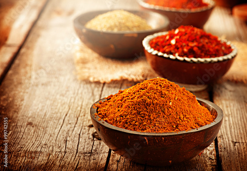 Printed kitchen splashbacks Spices Spice. Various spices over wooden background