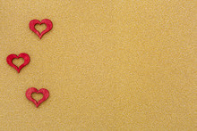 Drei Rote Herzen Auf Goldenem ...