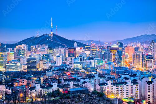 Seoul cityscape at twilight in South Korea