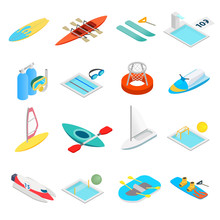 Water Sport Isometric 3d Icons