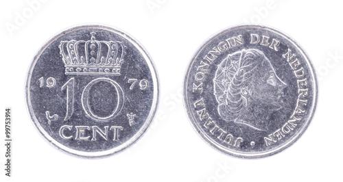 1979 Netherlands 10 Cent Antique Coin Juliana Koningin Der