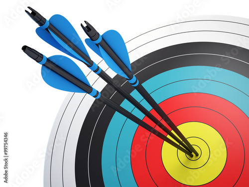 Fotografía  Arrows hitting the center of target - success business concept
